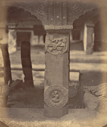 Ancient railings around the Mahabodhi Temple, Bodh Gaya: pillar now in the Mahant's Court, with medallion. 100360